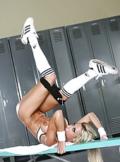 Hot blonde Regan Anthony demonstrates her body in the locker room