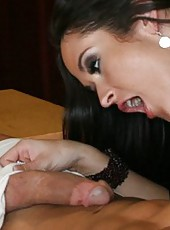 Stunning brunettes Carmella Bing and Mariah Milano fucked by one dick
