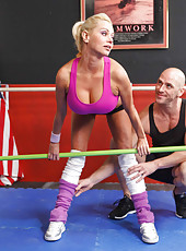 Big titted blonde hottie Nikita Von James enjoy practicing sports with big cock