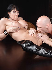 Black haired milf Eva Karera presents amazing blowjob and gets on dick