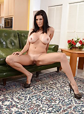 Check out super hot brunette Shay Sights, her big tits and shaved pussy