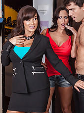 Fantastical milfs with huge breasts Ava Addams and Lisa Ann and lucky man