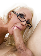 Unforgettable blonde with big boobs and sexy glasses Holly Price meets big cock