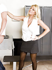 Hot blonde in sexy stockings Charlee Chase meets dick in the locker room