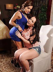 Busty lesbians Chloe Reese Ryder and Francesca Le teasing with their charms