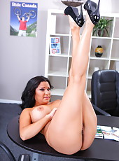 Exceptional milf Sophia Lomeli showing big tits and working with shaved snatch