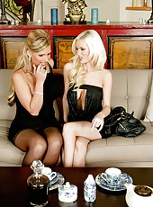 Two lesbians Brandi Edwards and Phoenix Marie trying to be gentle with each other