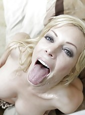 Posh prostitute Holly Sampson working all night long to get a facial cumshot