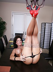 Small milf Deauxma posing in stockings and showing the best striptease