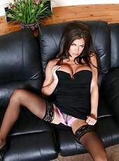 Nice pornstar Hunter Bryce posing in stockings and waiting for a tough sex