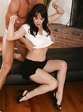 Nice milf RayVeness working with a big cock and sucking it somewhere outside