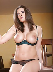 Incredible brunette Austin Kincaid is taking off her tight cloths and is showing her tits