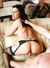 Delightful milf Priscilla posing in sexy stockings and fucking with a muscled guy
