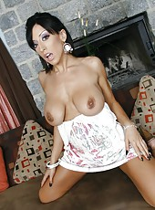 Busty brunette milf Ricki White undresses her fabulous dress