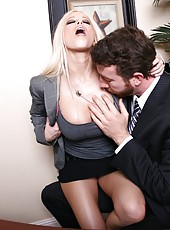 Hardcore fuck with a cute and horny bitch Gina Lynn in the office