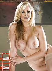 Cute blonde mommy Julia Ann shows her delicious ass and sweet boobs