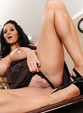Dark haired lady Ava Addams demonstrates her huge tits and gets pleasure