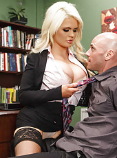 Extremely hot busty blonde milf Alexis Ford seduces her secretary