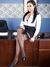 Black haired milf with charming face and plump lips Audrey Bitoni also has delicious big tits