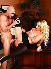 Blonde hottie Courtney Taylor was waiting for a manager to get his big cock in her holes