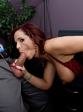 Hardcore mature redhead Syren De Mer performs in amazing anal fucking action