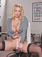 Glamorous milf with gorgeous big tits Shyla Stylez spreads her hot legs in sexy stockings