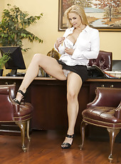 Blonde secretary Sarah Vandella is ready to demonstrates what she hides uner her skirt