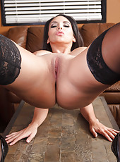 Beautiful and sexy brunette coquette in hot lingerie and sexy stockings Missy Martinez