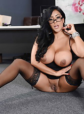 Appetizingly big tits by hot brunette milf in sexy glasses named Kiara Mia