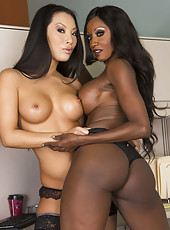 Asian hottie Asa Akira and Ebony milf Diamond Jackson in the interracial lesbian scene
