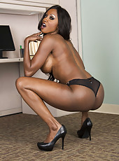 Chocolate skinned bombshell with big tits Diamond Jackson in exciting poses