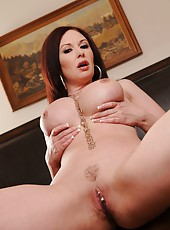 Mature hottie Felony Foreplay plays with her delicious big tits and pierced pussy