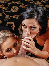 Two gorgeous and busty lesbians Phoenix Marie and Rachel Starr have nice time with a big cock
