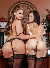 Two busty and sweet lesbians Phoenix Marie and Rachel Starr licking their pussies