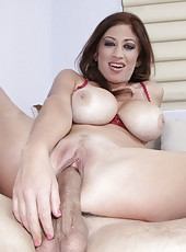 Great and busty milf Lucky Benton enjoys to taste big cock with mouth and pussy