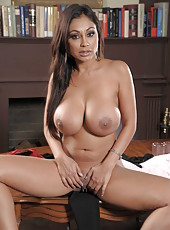 Busty brunette whore Priya Anjali Rai plays with her pussy and boobs