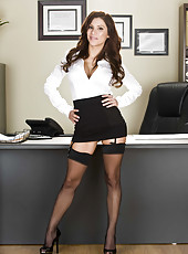 Dark haired secretary Aleksa Nicole demonstrates her sexy black lingerie