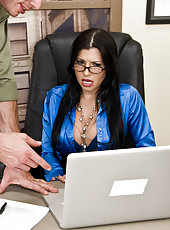 Social worker Rebeca Linares uses her delicious wet holes and big melons