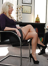 Great blonde milf Valerie Fox starts out and ends this action with great blowjobs