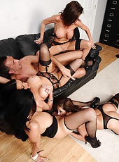 Wild office orgy with horny milfs Ava Addams, Francesca Le, Vanilla Deville and Veronica Avluv