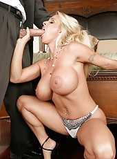 Fantastic blonde milf with large tits named Holly Halston fucks like a voluptuous goddess