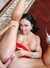 Latina brunette milf with sexy big tits Cherokee fucked by big pale skinned dick