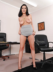 Young milf with huge natural boobs and sexy innocent-looking smile Kimber Kay strips on camera