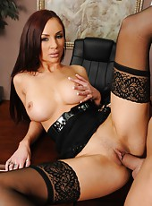 Super hot secretary with big tits Amy Ried gets fucked by hot boss