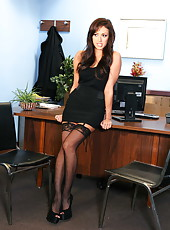 Glamorous black haired milf Breanne Benson poses in super hot stockings