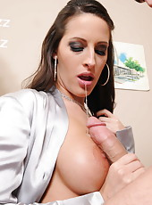 Hottest architect Kortney Kane got intense cumshot on her big boobs by hot client