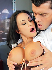 Astounding milf Claudia Valentine remains alone with her boss in the office