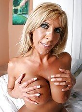 Petite and slender mature Misty Vonage with big boobs fucked by powerful dick