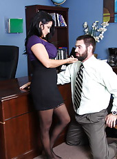 Milf Trina Michaels remains alone with her beardy boss in the office and fucks great