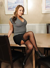 Office strip scene with remarkable milf Trina Michaels in beautiful lingerie